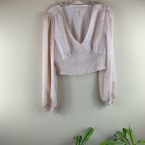 Urban Outfitters Peach Floral Long Sleeve Crop Top